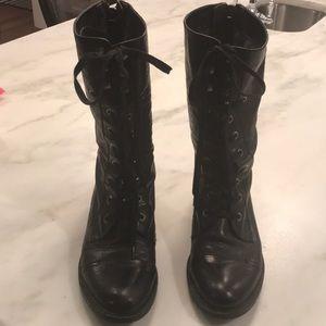 Sam Edelman Darwin Black Leather Lace up Boots 7.5